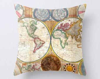 Vintage World Map Throw Pillow Cushion Cover Case. 40 cm. 45 cm. 50 cm.