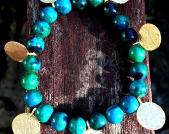 Indian Charms Bracelet; Indian Jewelry, Handmade, Beaded Charm Bracelet