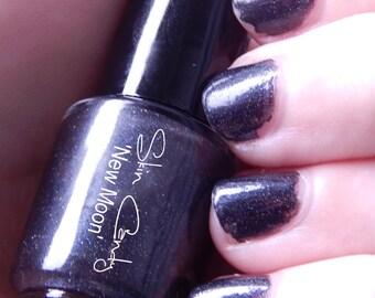 Black Glitter Nail Polish -New Moon- 5ml 5 Free Nail Lacquer
