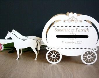 Wedding card box coach with white horses romantic wedding carriage horse disney princess wedding fairy tale horses for fairy wedding