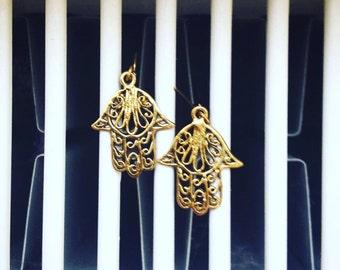 Delicate Brass Hamsa Hand earrings with fish hook