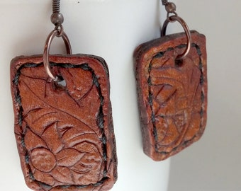 Leather Tag Earrings