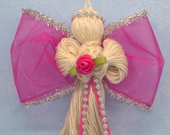 angel, angel decoration, cheap christmas decor, decorative angel, fuchsia angel, xmas angel, homemade christmas ornament, angel party favor