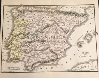 1890 Map of Spain and Portugal, Original Antique Color Map by Rand McNally