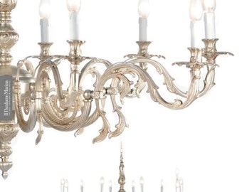 Solid Brass Chandelier - Antique silver color - made in Italy