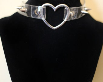 Clear Heart Studded Choker Collar Necklace