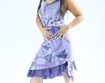 Hand painted silk purple dress ''BUTTERFLIES'' halter top(on sale)