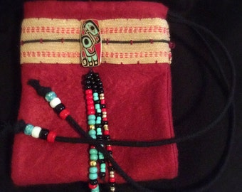 Native American Flute Bag, Flute Pouch, Tlingits Eagle Pin