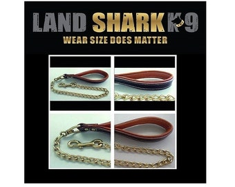 Heavy Duty Welded Brass Dog Leash with Genuine Leather Padded Handle