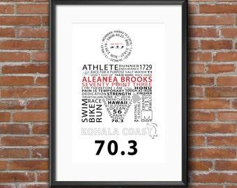 Ironman 70.3 Word Art 11x14