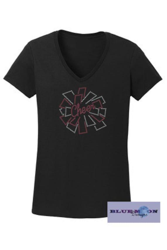 Cheer Pom Pom Rhinestone and Vinyl T-Shirt Made to order