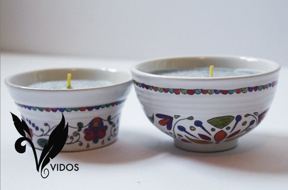 Scented candle on hand painted base Mexican Style and colors