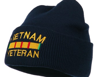 Vietnam Veteran Embroidered Long Knitted Beanie