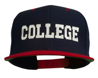 College Embroidered Snapback Cap