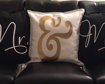 Mr. & Mrs. Throw Pillows set of three 20x20