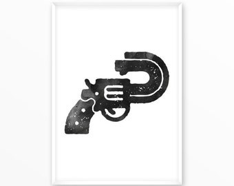 Gun art print, Pistol, Printable, Inspirational, Motivational, Home Decor, Art, Typography, Poster, type character, office, Screenprint