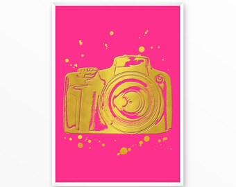 Camera Print, gold, pink, printable, art, digital, Typography, Poster, Vintage, Grunge,Inspiration Home Decor, Screenprint, wall art, gift