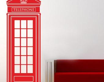 Telephone booth Wall decal, British telephone wall vinyl, England wall decal, Red telephone booth, London wall vinyl, Wall art 091