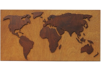 3d abstract world map, with laser carved wall decoration from wood