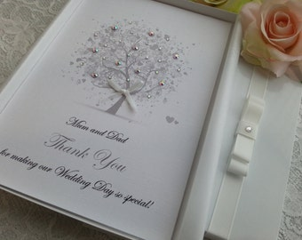 Wedding Thank You Card Handmade Personalised Boxed or Envelope  Keepsake Parents Grandparents Special Guest Bridesmaid Flower Girl