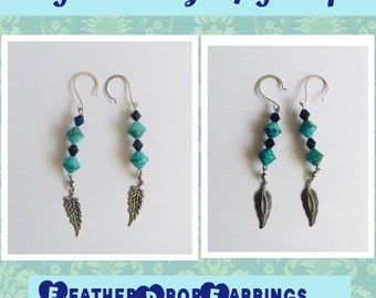 Turquoise and Navy Blue Feather Earrings