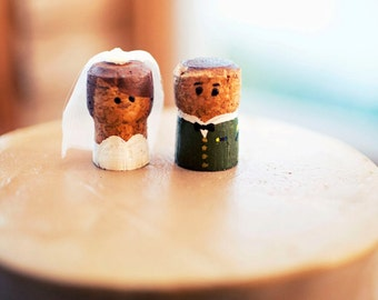 Cork wedding cake topper