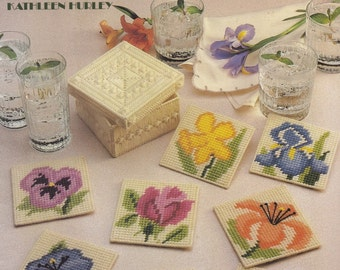 Floral Coasters, Leisure Arts Plastic Canvas Pattern Booklet 1107 Flower Coasters & Holder