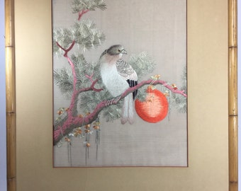 Vintage Unique Asian Mixed Media Art - Bird on Branch At Sunset Fabric Stitch Painting 1 of 2 26x30