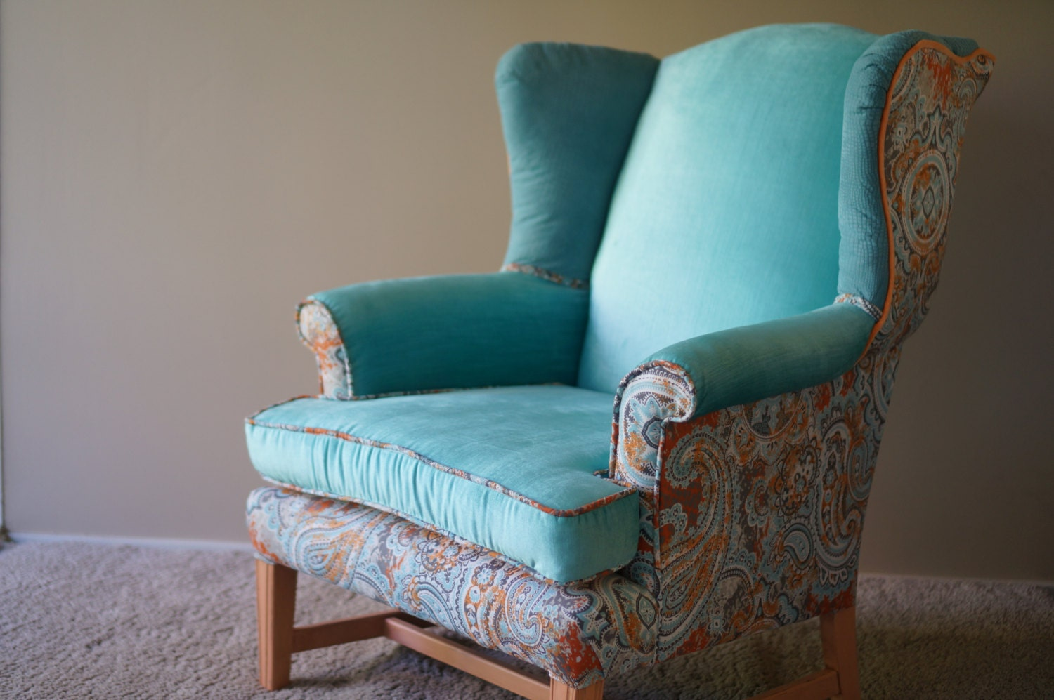 Upholstered Aqua Wingback Chair Sold