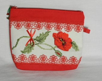 Poppy cosmetic bag, Cross stitch Make Up bag, Small Zipper Pouch