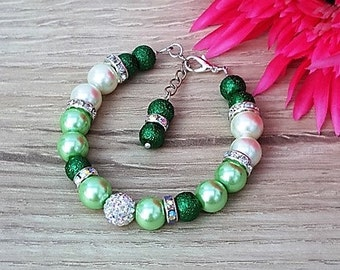 Green Pearl Bracelet, Greenery Bracelet, Celiac Disease, Pelvic Pain Jewelry, Sexual Diseases, Bridesmaid Jewelry, Wedding Jewelry, Wedding