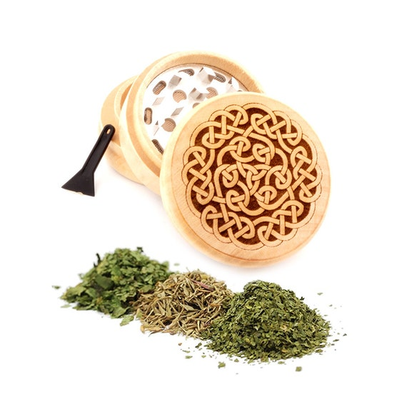 Flower of Life Engraved Premium Natural Wooden Grinder Item # PW91316-20