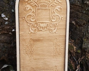 Lovely Miniature Entry Door with frame made from Hardwood. Fine Engraved detailing. Unfinished 1:12 Scale