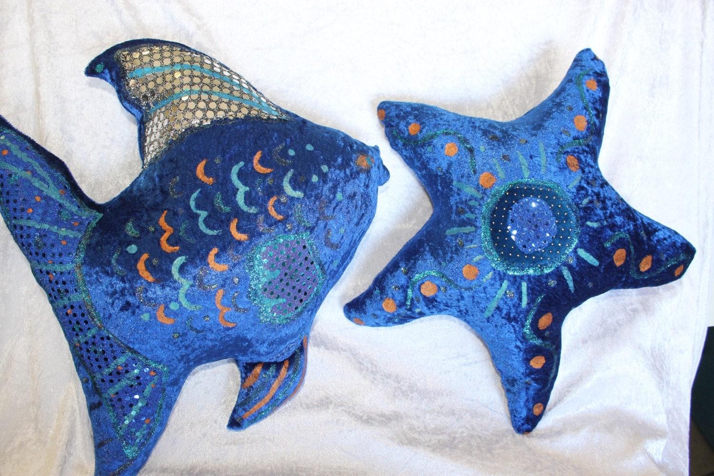 Sunfish and starfish cushion set fish shaped pillow new royal for Fish shaped pillow
