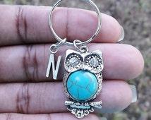 Owl, turquoise, rhinestone eyes keyring, keychain, bag charm, purse charm, monogram personalized item No.365