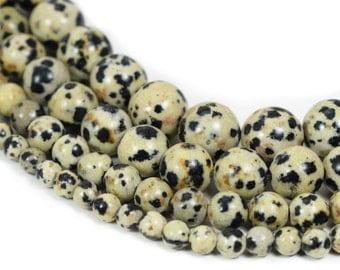 "Natural Dalmatian Jasper Beads, Full 15.5"" Strand Natural Round Wholesale 4mm 6mm 8mm 10mm"