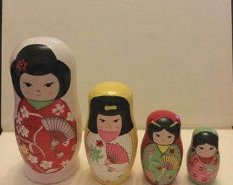 Japanese nesting dolls set of 4