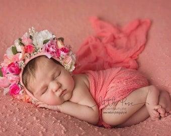 "Floral Bonnet.  ""Belinda's Posy"". Photography Prop. Newborn Props"