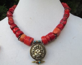 Tibetan  diety necklace. /free ship./