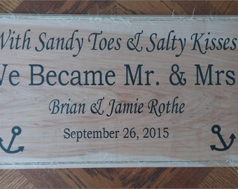 Customizable Wooden Sign: Sandy Toes & Salty Kisses