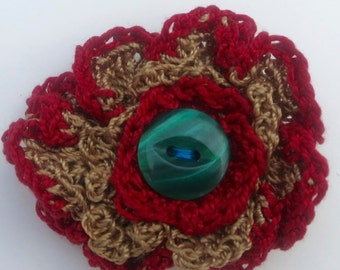 Crochet Flower Brooch Bronze Crochet Yarn with Red Detail and Teal Button