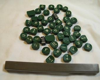Complete Set of 50 Green Royal Quiet De Luxe Typewriter Keys Plus Spacebar