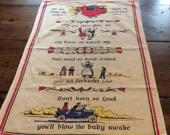 Vintage 50s German Folkart Country Hand Towel (A425)