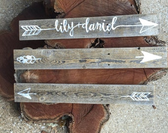 CUSTOM Handpainted Reclaimed Wood Sign-arrows with names