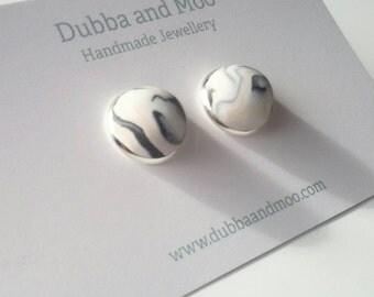 Marble monochrome cabochon stud earrings scandi minimalist style
