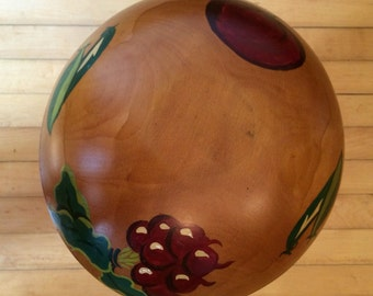 Vintage Painted Wooden Bowl