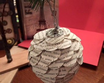 Pinecone Christmas Ornament from Old Book Pages