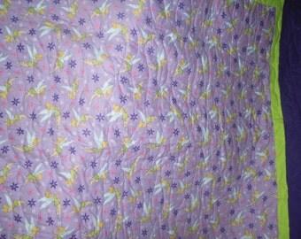 Handmade lap quilt- Tinkerbell flannel- 55 X 78