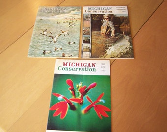 Michigan Conservation Vintage Magazines, set of 3 from 1967