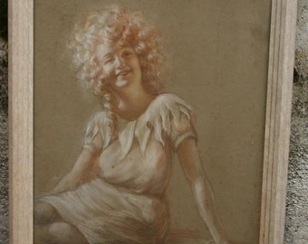Former blood pastel 1900 1930 Portrait of young girl